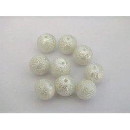 Voskované perly 8mm vrúbkované, biela 10ks