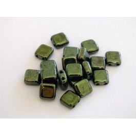 Štvorčeky 2-dierkové 6x6mm, 20 ks zelená metalic (008/19)