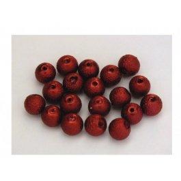 Voskované perly 6mm vrúbkované, červená 10 ks (03/4)