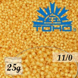 Toho Rokajl 11/0 Permanent Finish-Silver-Lined Milky Lt.Topaz č.PF2110 25g