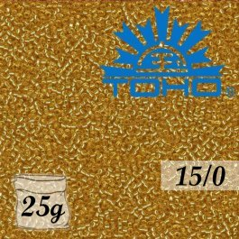 Toho Rokajl 15/0 Silver-Lined Med Topaz, 25g (č.22B)