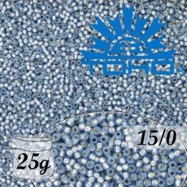 Toho Rokajl 15/0 Silver-Lined Milky Montana Blue25g (č.2102)