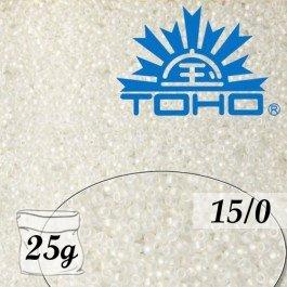 Toho Rokajl 15/0 Trans-Rainbow Frosted Crystal, 25g (č.161F)