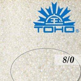 Toho Rokajl 8/0 Trans-Rainbow Frosted Crystal, 10g (č.161F)