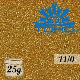 Toho Rokajl 11/0 Silver-Lined Med Topaz, 25g (č.22B)