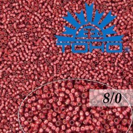 Toho Rokajl 8/0 Silver-Lined Milky Pomegranate 10g (č.2113)