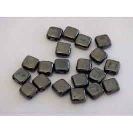 Štvorčeky 2-dierkové 6x6mm, 10 šedá metallic (009/20)