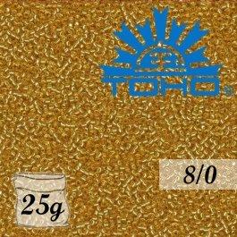 Toho Rokajl 8/0 Silver-Lined Med Topaz, 25g (č.22B)