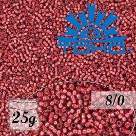 Toho Rokajl 8/0 Silver-Lined Milky Pomegranate 25g (č.2113)
