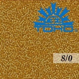 Toho Rokajl 8/0 Silver-Lined Med Topaz, 10g (č.22B)