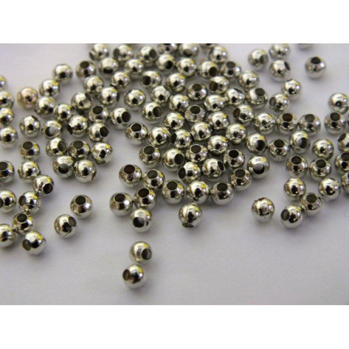 Korálky kovové 3mm 50 g platina