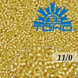Toho Rokajl 11/0 Silver-Lined Frosted Lt Topaz č.22F 8g