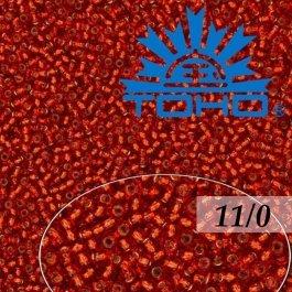 Toho Rokajl 11/0 Silver-Lined Siam Ruby č.25B 8g