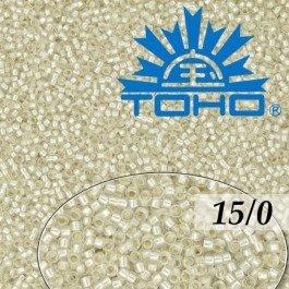 Toho Rokajl 15/0 Silver-Lined Frosted Crystal, 5g (č.21F)