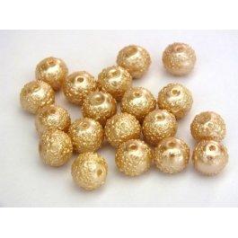 Voskované perly 8mm vrúbkované, béžová 10ks