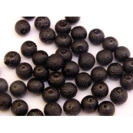 Voskované perly 8mm vrúbkované, čierna 10 ks