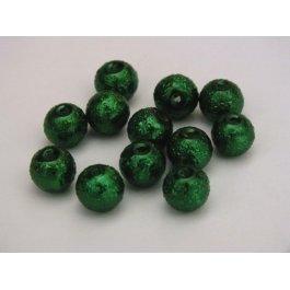 Voskované perly 6mm vrúbkované, zelená tm. (07/17)