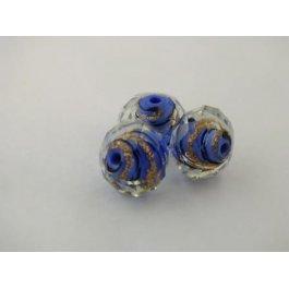 Korálky SKLO ?12mm Spiral modrá 1ks