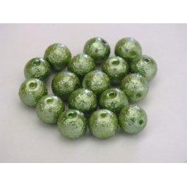 Voskované perly 6mm vrúbkované, zelená 10 ks (08/10)