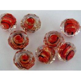 Korálky SKLO ?12mm Spiral červená 1ks