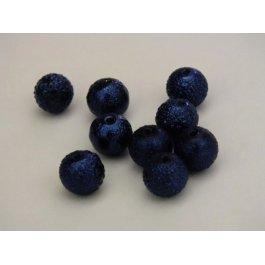 Voskované perly 8mm vrúbkované, modrá tm. 10 ks