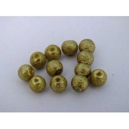 Voskované perly 6mm zlatozelená 10 ks (04/21)