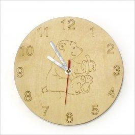 Drevené hodiny Detské s mackom
