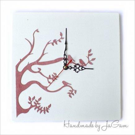 Drevené hodiny Pink tree