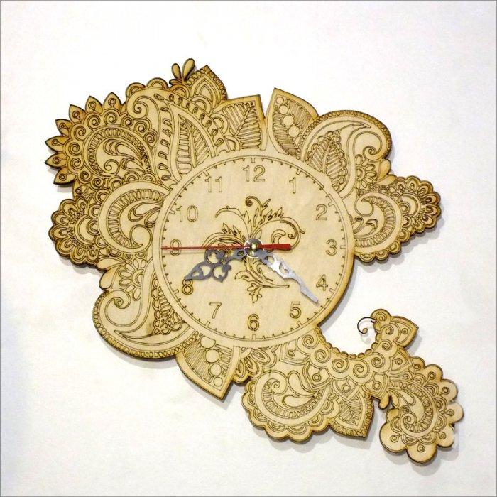 Drevené hodiny Flora