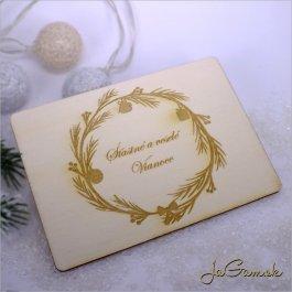 Drevená vianočná pohľadnica 9 x 13 cm (dv013)