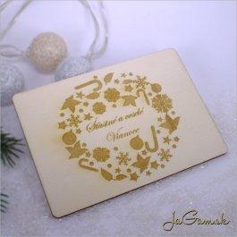 Drevená vianočná pohľadnica 9 x 13 cm (dv014)