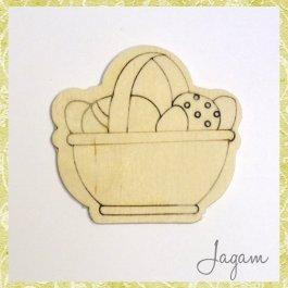 Drevený výrez - košík s vajíčkami 8 cm (dv20142)
