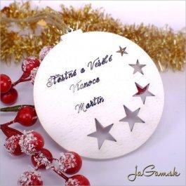 Drevená vianočná ozdoba 9 cm 1 ks (dv1074b)