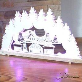 Drevená vianočná dekorácia s LED osvetlením 49 x 25 cm (dv2002)