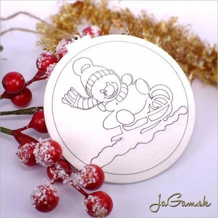 Drevená vianočná ozdoba 9 cm 1 ks (dv1073)
