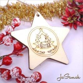 Drevená vianočná ozdoba 9 cm 1 ks (dv1077)