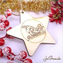 Drevená vianočná ozdoba 9 cm 1 ks (dv1079)