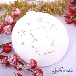 Drevená vianočná ozdoba 9 cm 1 ks (dv1086b)