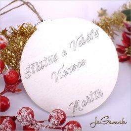 Drevená vianočná ozdoba 9 cm 1 ks (dv1088b)