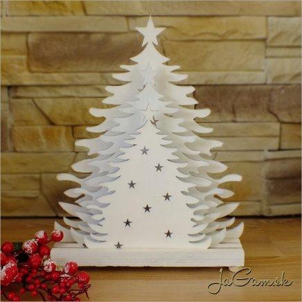Drevená vianočná dekorácia s LED osvetlením 22 x 28 cm (dv003)