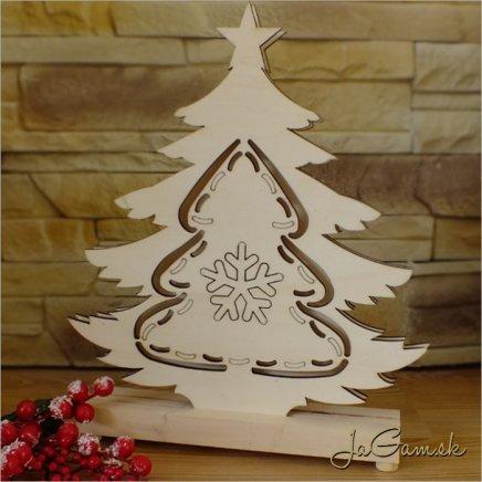 Drevená vianočná dekorácia s LED osvetlením 22 x 28 cm (dv2005)