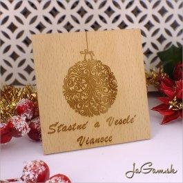 Drevená vianočná pohľadnica 13 x 13 cm (dv009)