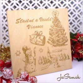 Drevená vianočná pohľadnica 13 x 13 cm (dv003)