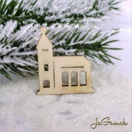 Drevený výrez - kostol 5ks (mdv0005)