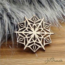 Drevená vianočná ozdoba - vločka 9 cm 1 ks (dv1099)