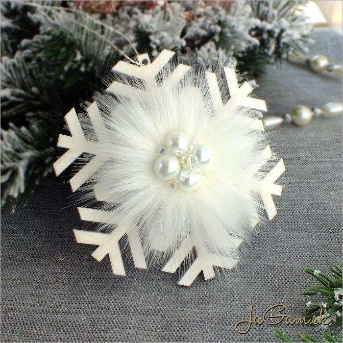 Drevená vianočná ozdoba - vločka 10 cm 1 ks (dv1094zd)