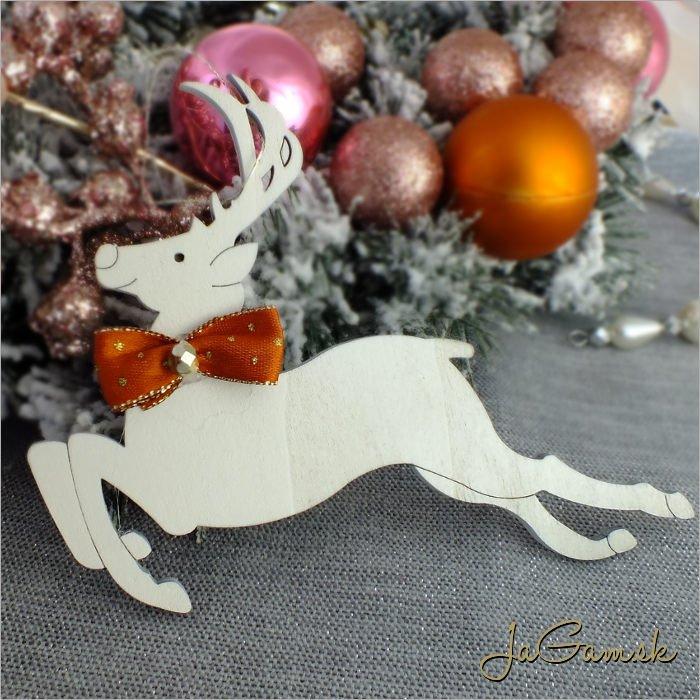 Drevená vianočná ozdoba - jelenček 10x14 cm 1 ks (dv1095zd_o)