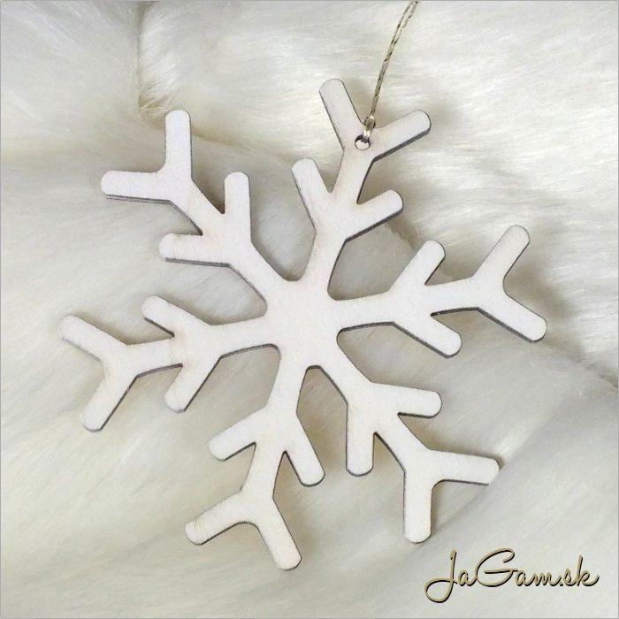 Drevená vianočná ozdoba - vločka 10 cm 1 ks (dv1096)