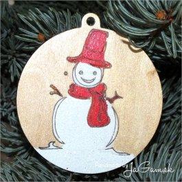 Vianočná ozdoba - Snehuliak 8cm, 1ks