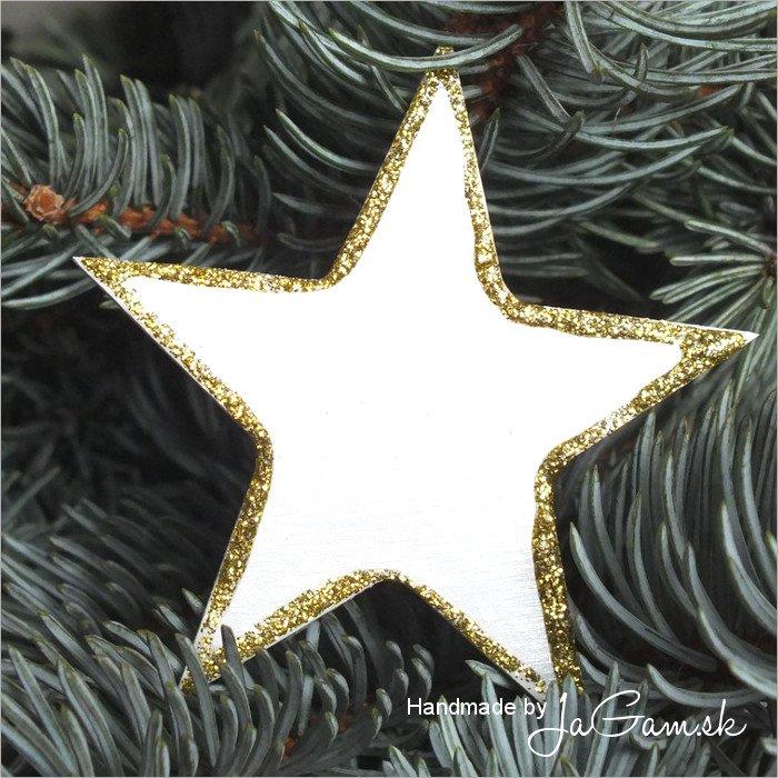 Vianočná ozdoba - hviezda zlatá 8cm, 1ks